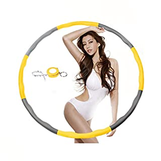 NEOWEEK Weighted Hula Hoops for Exercise,Professional Hula Hoop for Adults-2.4lb (Yellow-Gray)