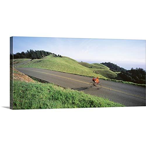 Marin Bolinas Ridge - GREATBIGCANVAS Gallery-Wrapped Canvas Entitled Man Riding a Bicycle, Bolinas Ridge, Marin County, California by 60