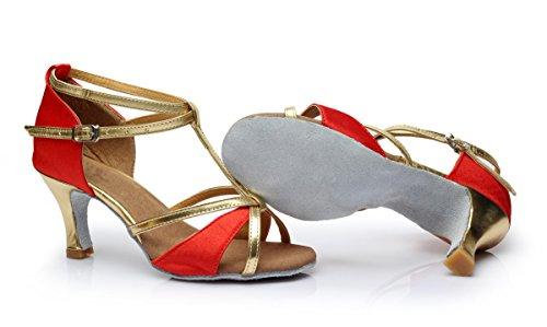 Rojo Mujer Tacón VESI de Alto Baile para de Medio Latino Zapatos 6xAAz7qv