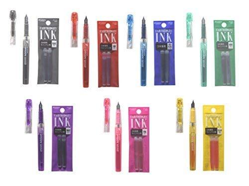 Platinum Preppy Fountain Pen (Fine Point 03) 7 Color with Ink Cartridge Set