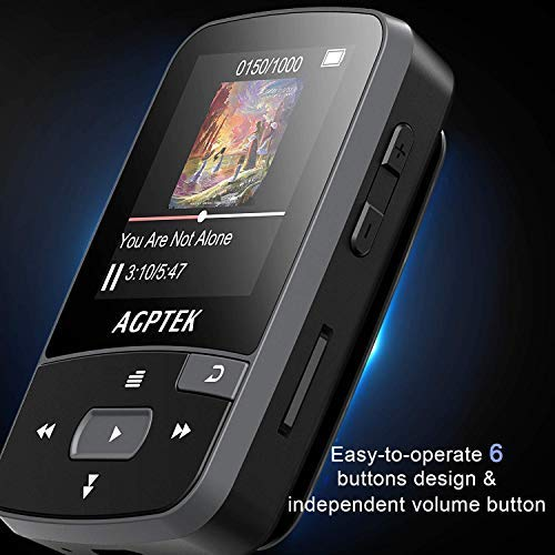 16GB Clip MP3 Player with Bluetooth 4.0, AGPTEK A50S Lossless Sound Music Player with Armband for Sports, Supports FM Radio Voice Recording & 128GB Expanding, Black by AGPTEK (Image #8)