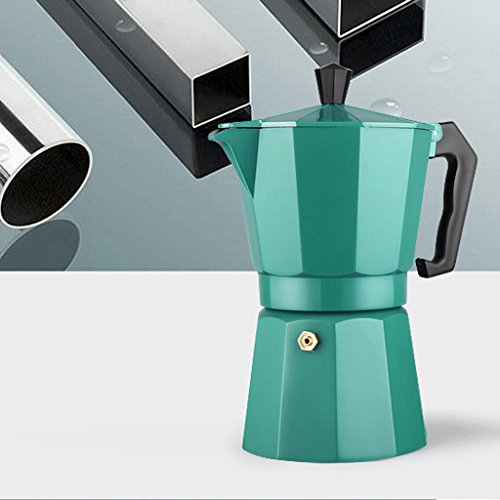 Dovewill Stovetop COFFEE Maker MOKA Latte Stainless Steel Espresso Pot Kitchen Cafe 240ml PICK - Green, 9.2x11x20cm