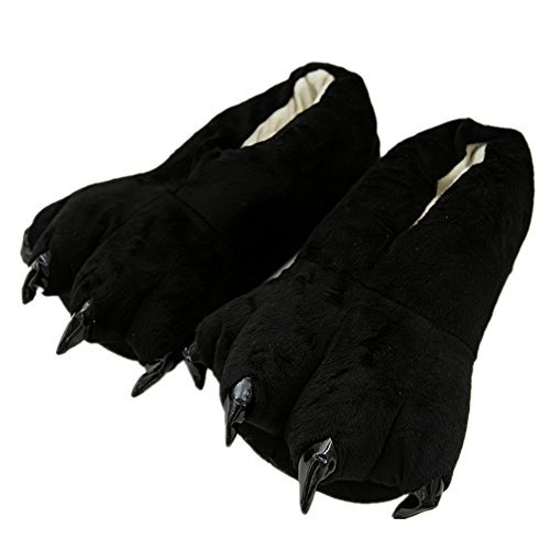 Japsom Unisex Cozy Flannel House Monster Slippers Halloween Animal Costume Paw Claw Shoes Black L