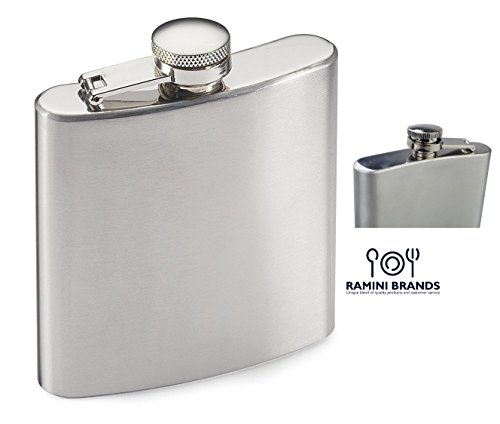 Wine Container (Stainless Steel Hip Flask - Bonus Wine and Spirits Recipes - Water Liquor Alcohol Travel Container - 6 oz - Beverage Bottle)