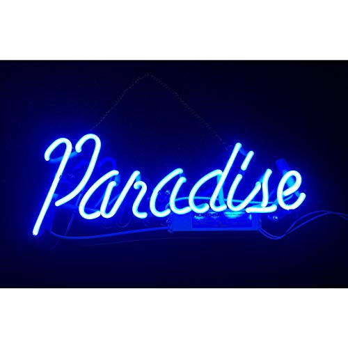 - Blue Paradise Real Glass Neon Sign Beer Bar Pub Store Home Room Party Light Sign Neon Lamp Wall Artwork Sign, Prepaid Custom Duty(14