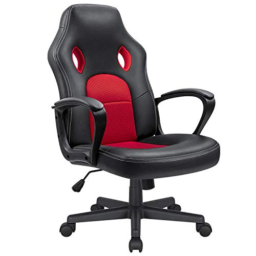 Kaimeng Office Desk Chair Gaming Chair High Back Leather Ergonomic Adjustable Racing Chair Executive Computer Chair (Red) KaiMeng