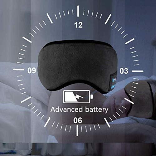 Slaapmasker met geïntegreerde draadloze hoofdtelefoon, Bluetooth 5.0, zwart, oogmasker met draadloze hoofdtelefoon, slaapbril met muziek, headset voor op reis