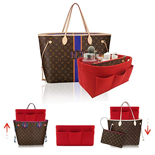 LEXSION Felt Handbag Organizer,Insert purse organizer Fits Speedy Neverfull 8001 Red M - Ladies Vuitton Louis Wallets