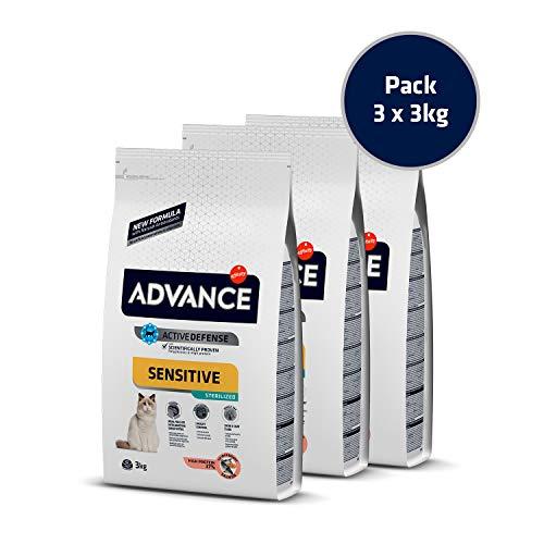 Advance Sensitive Sterilized – Pienso para Gatos Estirilizados con Sensibilidades Digestivas – Pack De 3 X 3 – Total 9 Kg 9000 g