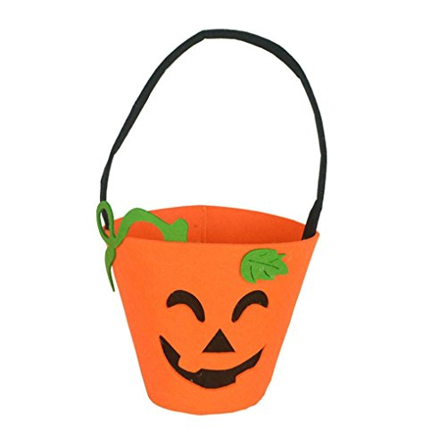 [Elevin(TM) Halloween Fashion Smile Pumpkin Bag Children Kids Candy Handbag Bucket Bag (H)] (College Girl Halloween Costumes Creative)