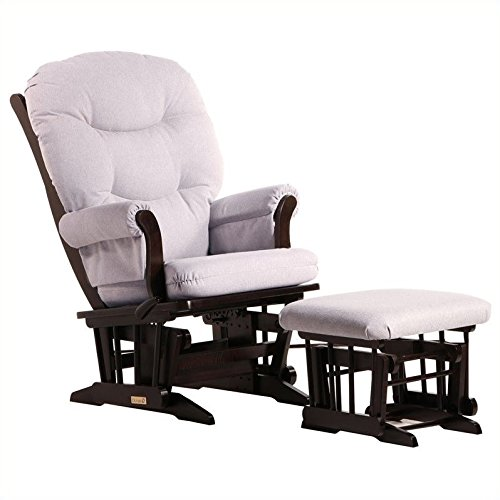 Dutailier Sleigh Glider-Glide/Lock/Recline with Nursing Ottoman, Espresso/Light Grey by Dutailier