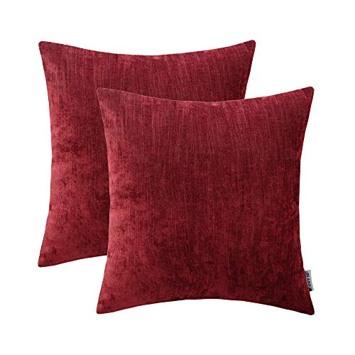 nen Soft Comfortable Natural Soild Christmas Decorative Throw Pillow Covers Sets Cushion Case for Couch Sofa Bed Living Room Wine Red Burgundy 20 x 20 Inches 50X50 cm Pack of 2 ()