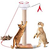 RundA Cat Scratching Post, Claw Scratch Collection Durable Cat Furniture, Cat and Kitten Tree with Detachable Sisal Poles and 2 in 1 Auto Rotating Light and Feather Cat Toy - 35″ Tall