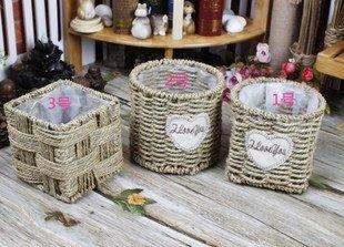SEESUNG Straw Fleshy Flower Pot Straw Rope Weave Flower Basket, B by SEESUNG (Image #2)'