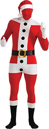 Christmas Santa Claus Suit Second Skin 3pc Adult Costume Bodysuit, Red White, M - http://coolthings.us