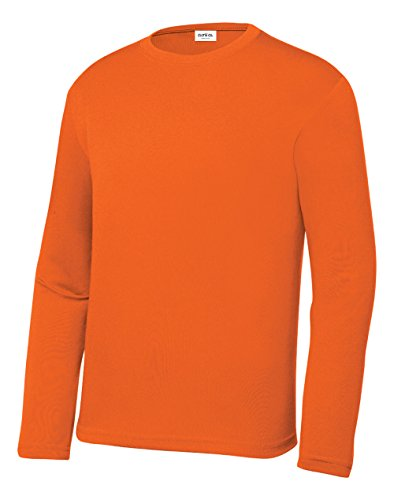 Clothe Co. Youth Long Sleeve Moisture Wicking Athletic Shirts, Deep Orange, S
