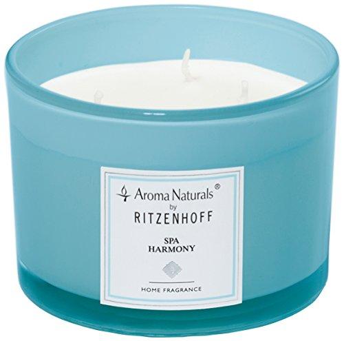 (Ritzenhoff Aroma Naturals Modern Glass Scented Candle, Blue, 11x 11x 8cm)