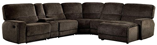 Right Reclining Sectional - Homelegance Shreveport 6-Piece Sectional with Two Reclining Chairs and One Right Side Reclining Chaise Fabric Chenille, Brown