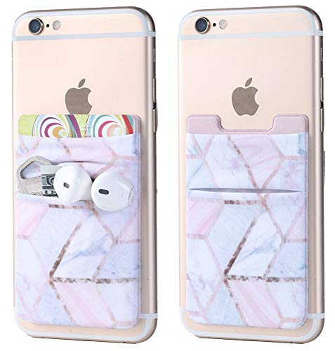2Pack Phone Card Holder Stretchy Lycra Stick on Wallet Pocket Credit Card ID Case Pouch Sleeve 3M Adhesive Sticker for Back of iPhone Samsung Galaxy Android Smartphones-Rose Gold Marble Double Pocket