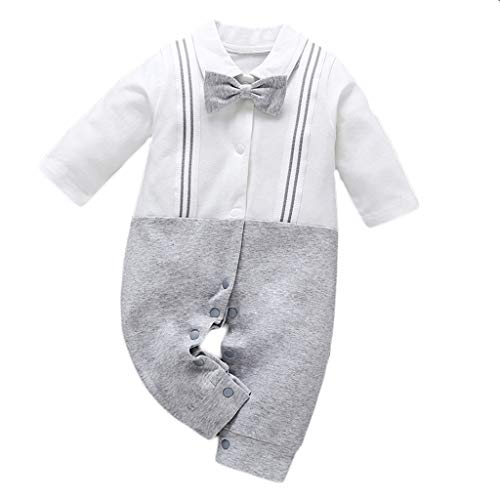 NUWFOR Infant Toddler Baby Boy Bow Gentleman Straps Jumpsuit Romper Clothes White