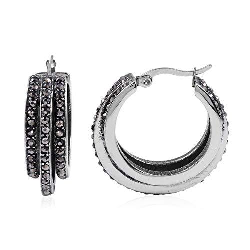 Hematite Hoops Hoop Earrings Stainless Steel Jewelry for Women Gift Ct 1.6