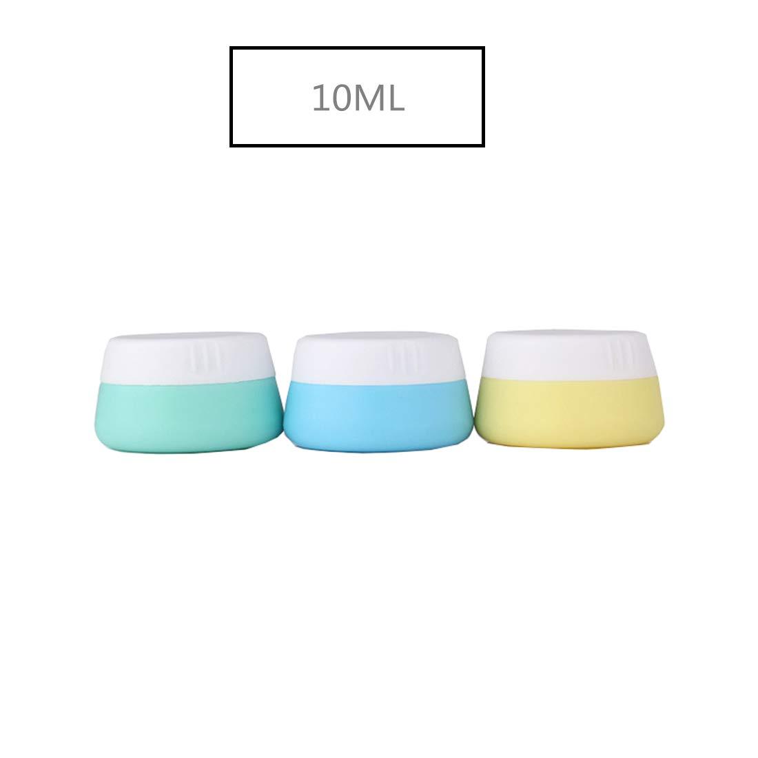 Holzsammlung 3 Pezzi Vaso da Crema di Silicone da 20 ml Portatile Contenitori Cosmetici da Viaggio Vasetti Barattolo Set con Coperchio - per Shampoo, Condizionatore, Lozione, Prodotti da Toeletta