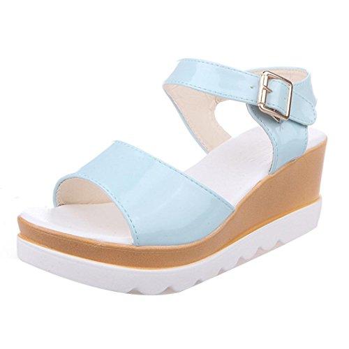 Jamicy Women Summer Fashion Leather Peep-toe High Heel Platform Sandals Shoes Blue