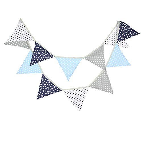 INFEI 3.2M/10.5Ft Country Floral Fabric Flags Bunting Banner Garlands for Wedding, Birthday Party, Outdoor & Home Decoration (Gray & Blue)]()