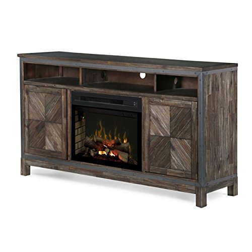 (DIMPLEX Electric Fireplace, TV Stand, Media Console, Space Heater and Entertainment Center with Natural Log Set in Barley Brown Finish - Wyatt #GDS25LD-1589BY)
