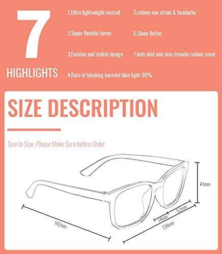 MIGSIR 5 Pack Blue Light Blocking Glasses, Fashion Computer Glasses for Women/males, Anti Glare, UV400, Eye Strain
