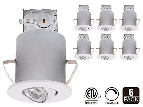 Recessed Lighting Kit: 3-Inch ETL-listed Air Tight IC Housing + White Swivel Trim + LED Dimmable GU10 Light Bulb (Daylight), Rotatable Spotlight Fixture, Decorative Retrofit Downlight Kit, Pack of 6