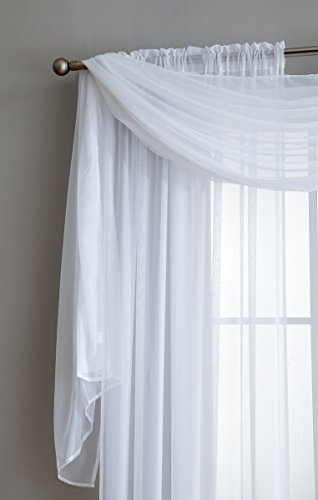 Infinite Home Beauty Sheer Window Scarf. Beautiful 56x216 Valance Scarf. Great for any room in the house. Kitchen, Living, Bedroom or Office. (White, 1 Scarf: 56