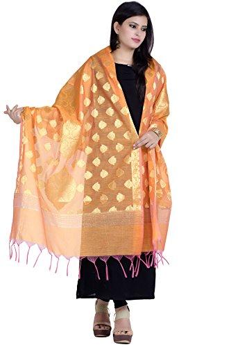 Chandrakala Women's Handwoven Zari Work Banarasi Dupatta Stole Scarf (Orange) by Chandrakala (Image #3)