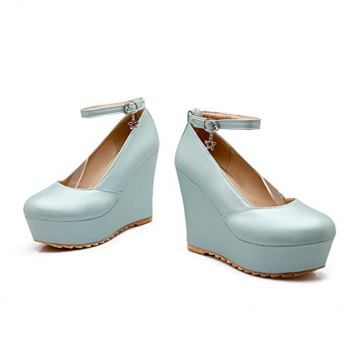 Delle Solidi Chiusa Amoonyfashion Pompe Talloni calzature Donne Punta Rotondo Della Blu Dell'inarcamento Iwqfqp