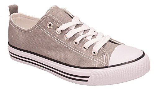 Shop Pretty Girl Women's Sneakers Casual Canvas Shoes Solid Colors Low Top Lace up Flat Fashion (9, Grey)...