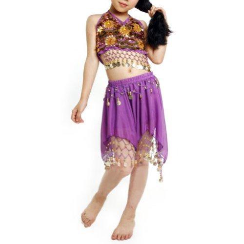 TOPTIE Kid's Tribal Belly Dance Girl Skirt & Halter Top Set, Halloween -