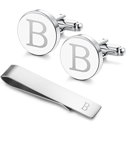 Classic Engraved Initial Cufflinks and Tie Clip Bar Set Alphabet Letter Formal Business Wedding Shirts B