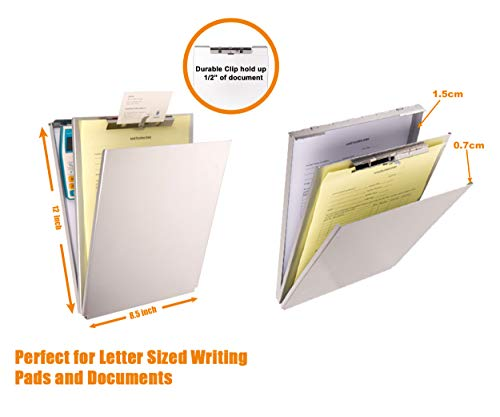 Summit Tools Dual Storage Aluminum Clipboard - 8.5 in. x 12 in. Letter Size Document Holder with Self Locking Latch, Form Clip, 2 Storage Compartment [2-Pack] by Summit Tools (Image #5)