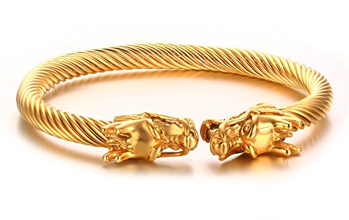 - Mealguet Jewelry Mens Stainless Steel Opposite Dragon Head Twisted Wire Viking Cuff Bangle Bracelet,Gold Plated