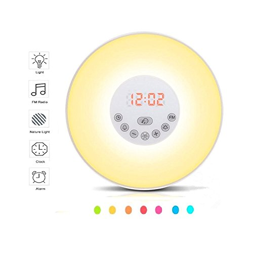 Wake Up Light,Alarm Clock, YINUO LIGHT Colored Sunrise Simulation Digital Clock, Dusk Fading Kids Night Light Bedside Lamp With Smart Snooze Function, Nature Sounds, FM Radio - Touch Control