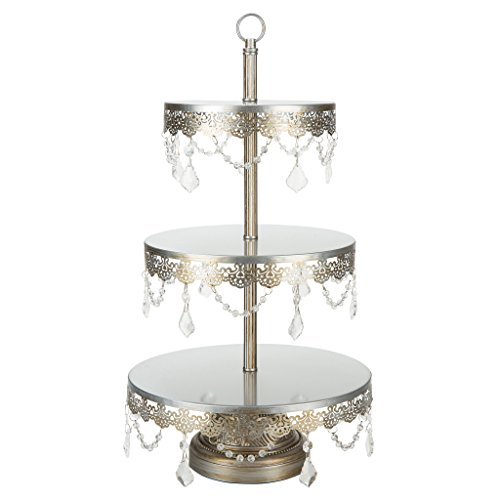 Sophia Antique Silver 3-Tier Cupcake Stand, Dessert Cake Tower with Glass Crystals, 23