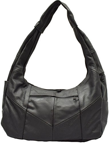 Bellisimo Chain Link Embossed Black Leather Shoulder Bag Purse Hobo (Black Link Bag Leather Shoulder Chain)
