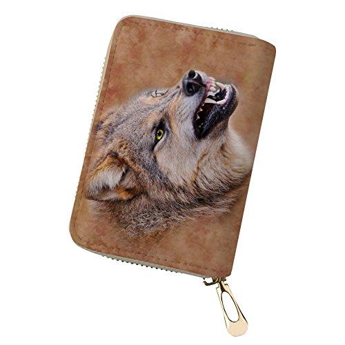 Braun Kreditkarten Geldbörse Leder Tier Kartenhalter Wolf