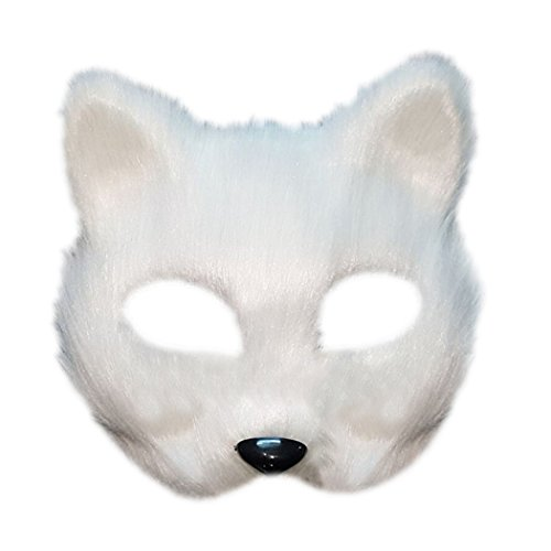 Funpa Plastic Costume Mask Half Face Fox Head Party Mask Masquerade Mask Halloween Costume for Women Men -