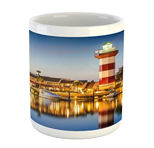 Ambesonne United States Mug, Hilton Head South Carolina Lighthouse Twilight Water Reflection Boats Idyllic, Printed Ceramic Coffee Mug Water Tea Drinks Cup, Multicolor