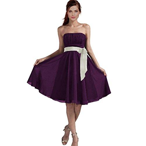 Yanzhong Vêtements Sexy Une Ligne Bustier En Mousseline De Soie Robe De Cocktail De Demoiselle D'honneur Formelle Violet Foncé