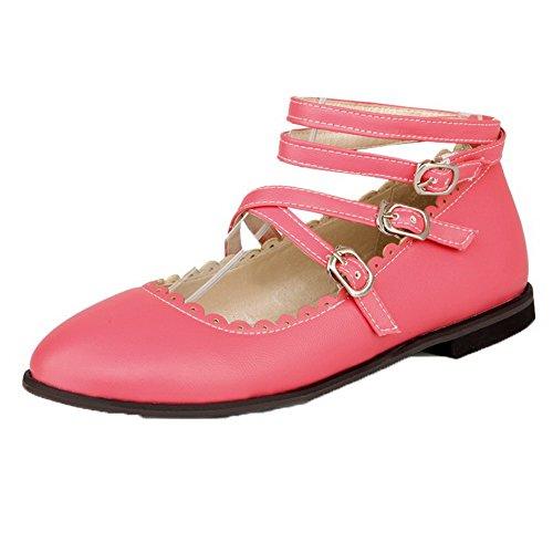 Naisten Pyöreä Odomolor Solid Pinkki kengät Alhaisen Selin toe Solki Pumput Pu 1xxOgqPd