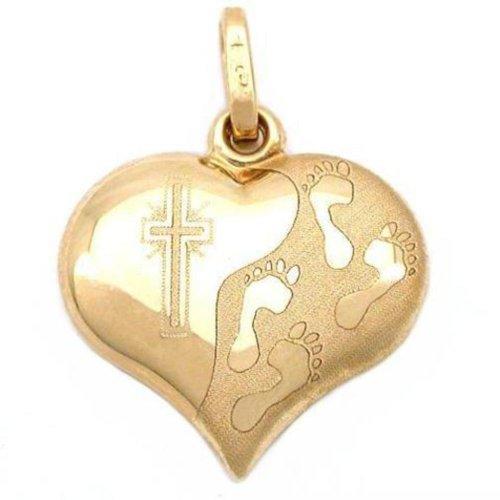 14k-Gold-Footprints-Cross-Heart-Charm-Religious-Jewelry