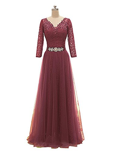 Elegant Gowns Prom Formal Dress Maxi 8 Women Drasawee Evening Middle Beaded Sleeve Neck V Wedding qSO0xAaFw