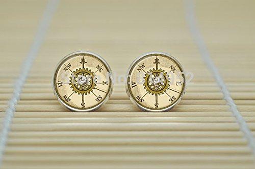 Wholesale Victorian Jewelry - One Pair Steampunk Victorian Clock Tower Earrings Watch Jewelry Earrings Glass Cabochon Earrings B1647